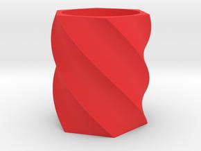 Spiral Hexagon Vase in Red Processed Versatile Plastic