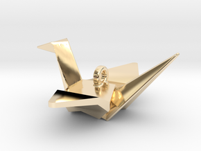 Origami Crane Pendant in 14K Yellow Gold