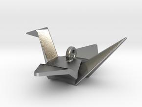Origami Crane Pendant in Natural Silver