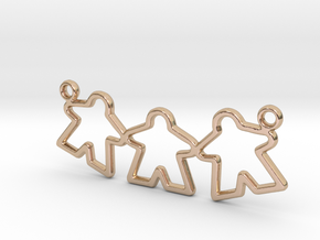 Meeple pendant - Triple in 14k Rose Gold Plated Brass
