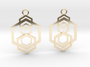Geometrical earrings no.5 in 14k Gold Plated Brass: Small