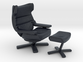 Miniature Re-vive Wing Back Chair - Natuzzi in Black PA12: 1:12