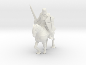 S Scale Knight on Horse in White Natural Versatile Plastic