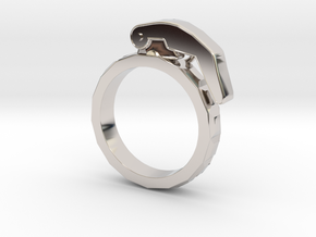 The Gringade - Grenade Ring (Size 7) in Rhodium Plated Brass: 7 / 54