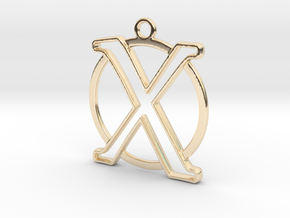 Initial X & circle monogram 35mm in 14k Gold Plated Brass