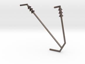 Y BRACKET87_insulators in Polished Bronzed-Silver Steel