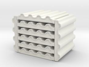 3 x 3 Corrugated Metal Set in White Natural Versatile Plastic