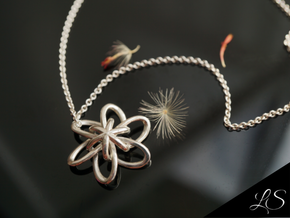 Cosmic Blossom Pendant in Polished Silver: Medium