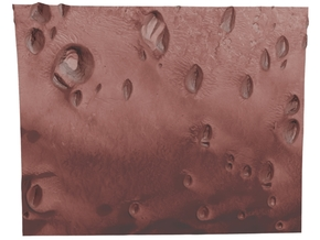 Mars Map: Small Buttes and Dunes in Light Red in Matte Full Color Sandstone