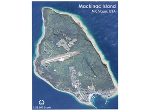 Map of Mackinac Island, Michigan in Matte Full Color Sandstone