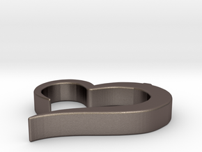 Heart_pendant in Polished Bronzed-Silver Steel
