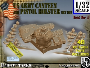 1/32 US Pistol Holster-Canteen WWII Set002 in Smooth Fine Detail Plastic