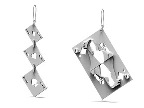 Asymmetrical Stunning Card Earrings  in 14k White Gold
