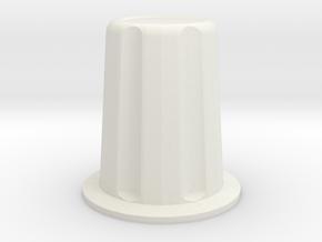 Rotary encoder knob for 6mm shaft in White Natural Versatile Plastic: Medium