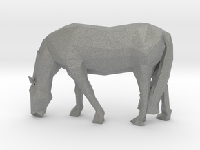 Low Poly Grazing Horse in Gray PA12