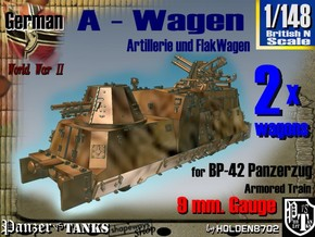 1-148 2x A-Wagen For BP-42 in Smooth Fine Detail Plastic