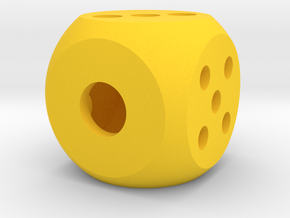die hollow interior balanced rounded edges in Yellow Processed Versatile Plastic: Medium