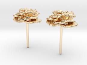 Carnation Flower Earrings in 14K Yellow Gold