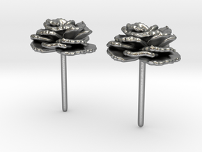 Carnation Flower Earrings in Natural Silver