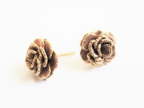 Carnation Flower Earrings in Natural Brass