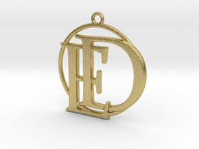 Initials D&E and circle monogram in Natural Brass