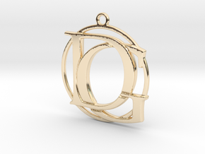 Initials D&G and circle monogram in 14k Gold Plated Brass