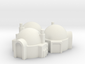 6mm Scale Desert / Star Wars Style Dwelling (3 off in White Natural Versatile Plastic