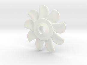1-144 Nine Blades Sub Propeller bigger shaft in White Processed Versatile Plastic