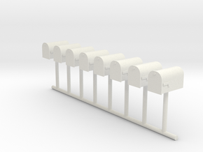 HO Scale Mailbox Set 1 in White Natural Versatile Plastic