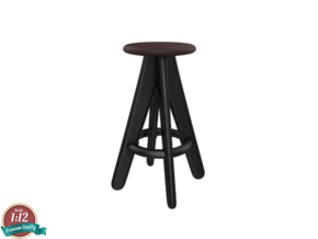 Miniature Tom Dixon Slab Barstool - Tom Dixon in White Natural Versatile Plastic: 1:12