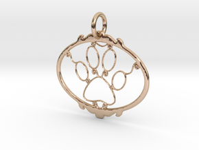 Paw Print pendant in 14k Rose Gold Plated Brass