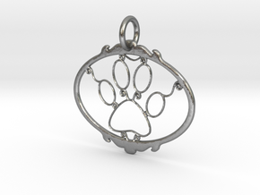 Paw Print pendant in Natural Silver