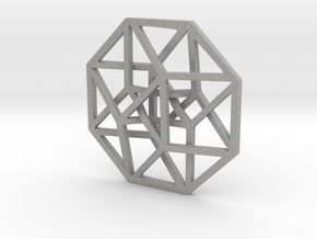 4D Hypercube (Tesseract) small in Aluminum