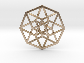 "4D Hypercube (Tesseract) 2.5"" in Polished Gold Steel"