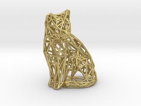 Sitting cat in Natural Brass