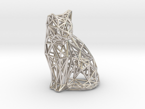 Sitting cat in Rhodium Plated Brass