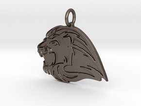 Lion Mascot Pendant in Polished Bronzed-Silver Steel