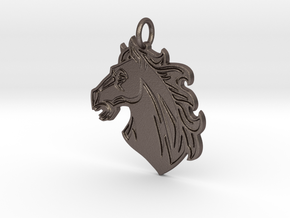Horse Mascot Pendant in Polished Bronzed-Silver Steel