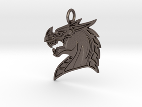Dragons Mascot Pendant in Polished Bronzed-Silver Steel