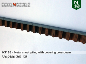 Metal sheet piling w/ covering crossbeam (N 1:160) in White Natural Versatile Plastic