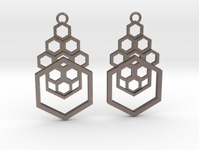Geometrical earrings no.4 in Polished Bronzed-Silver Steel: Small