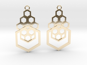 Geometrical earrings no.4 in 14k Gold Plated Brass: Small