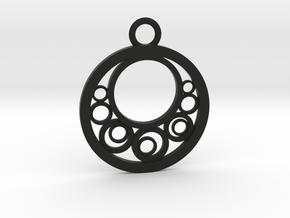 Geometrical pendant no.6 in Black Natural Versatile Plastic: Medium