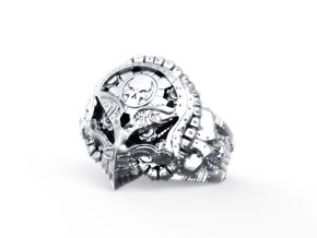 SteamPunk Skull Ring in Antique Silver: 10 / 61.5