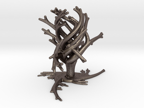 TwistBoquet - Triple Divisions in Polished Bronzed-Silver Steel