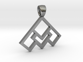 Art déco squares [pendant] in Polished Silver