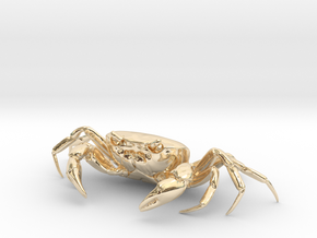 CRAB Sculpture, 8.4cm length in 14k Gold Plated Brass