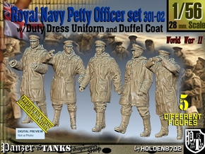 1/56 Royal Navy DC Petty OffIcer Set301-02 in Smooth Fine Detail Plastic