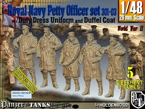 1/48 Royal Navy DC Petty OffIcer Set301-03 in Smooth Fine Detail Plastic