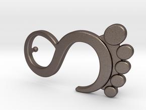 Foot Logo Buckle in Polished Bronzed-Silver Steel